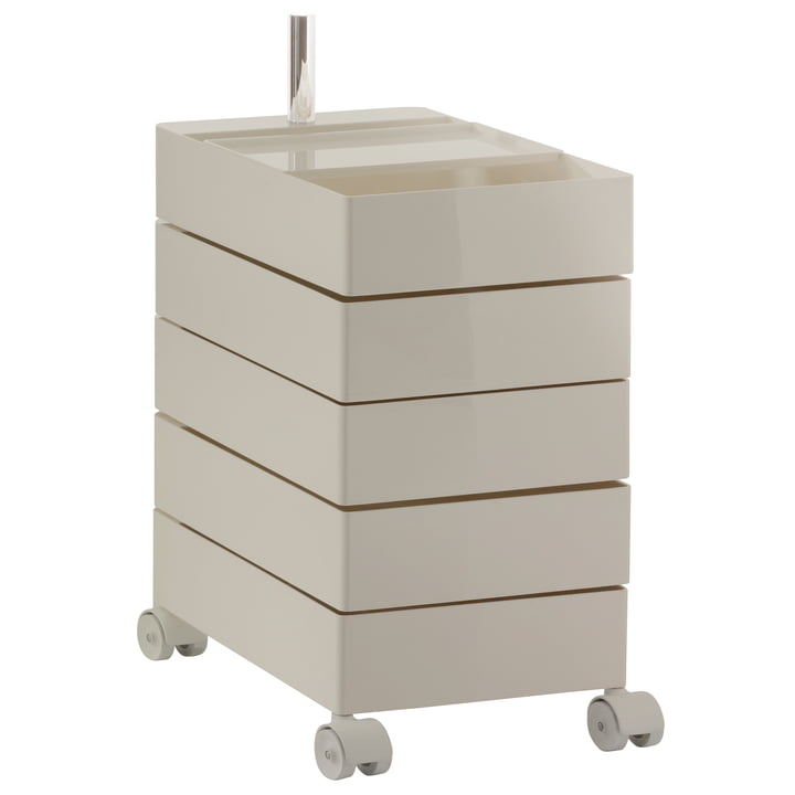 360° container with 5 drawers in light grey by Magis