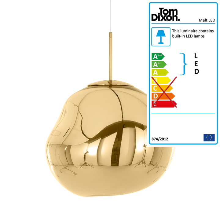 Melt LED pendant lamp by Tom Dixon in gold