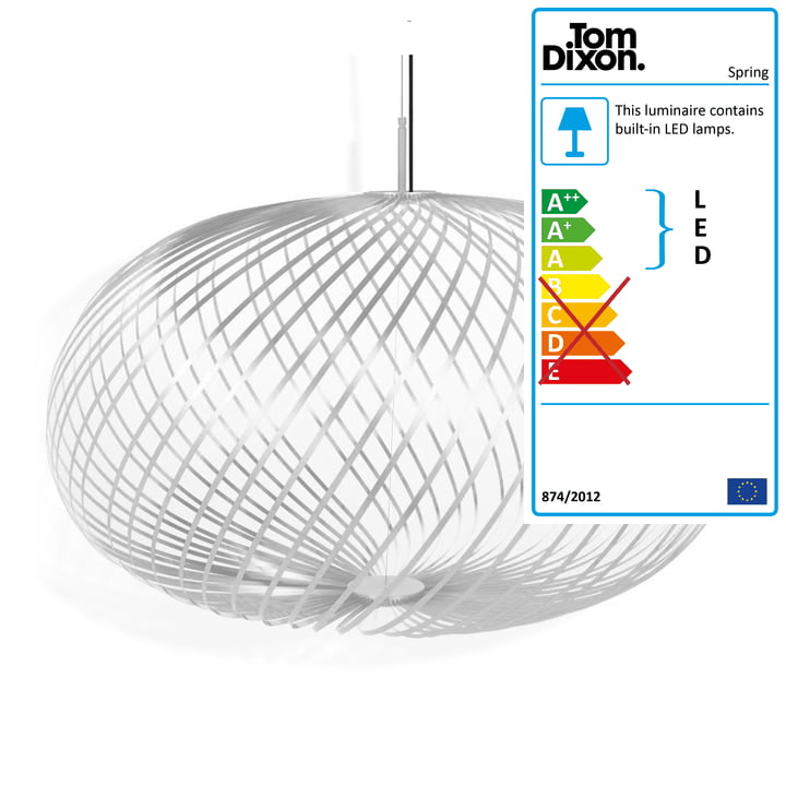 Spring pendant lamp large by Tom Dixon in white