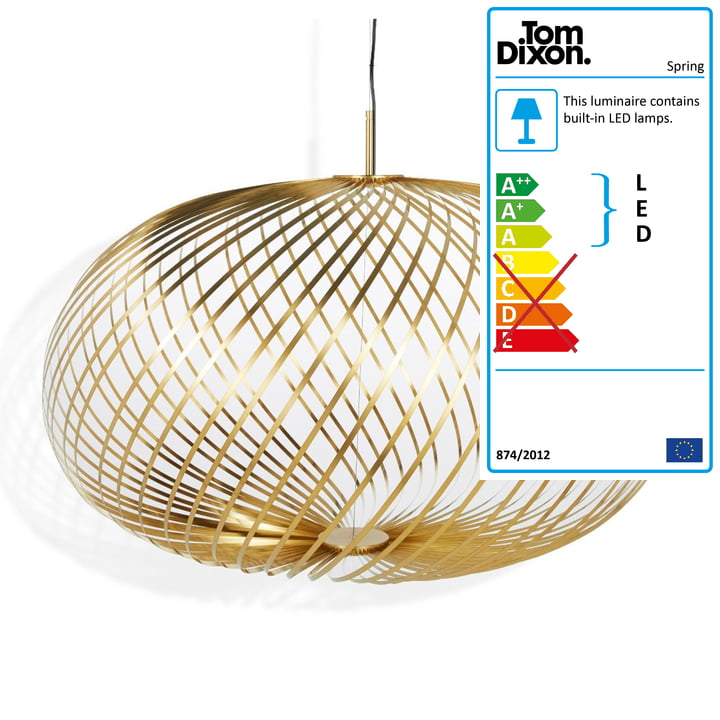 Spring pendant lamp large by Tom Dixon in brass