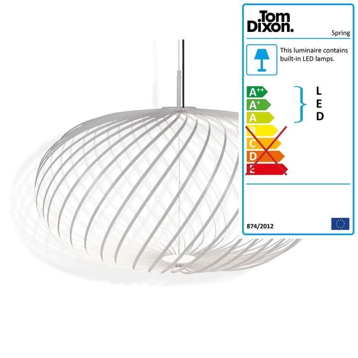 Spring pendant lamp medium by Tom Dixon in white