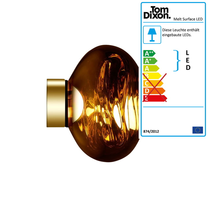 Melt Mini Surface LED ceiling light by Tom Dixon in Gold