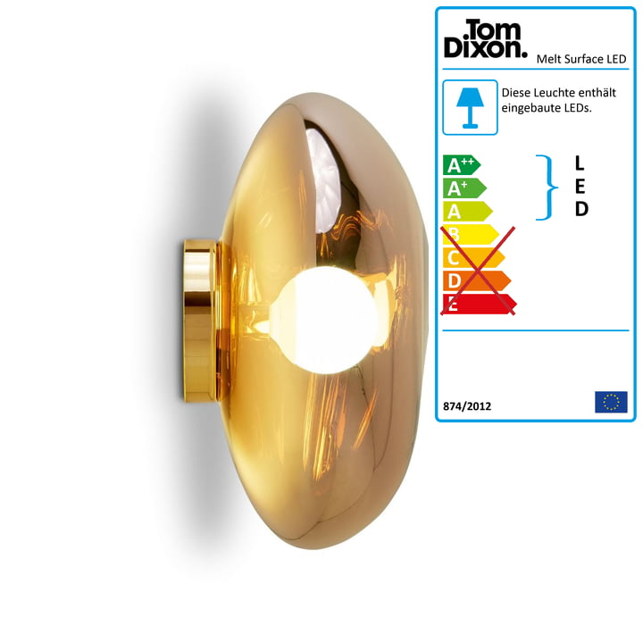 Melt Surface LED ceiling light by Tom Dixon in gold
