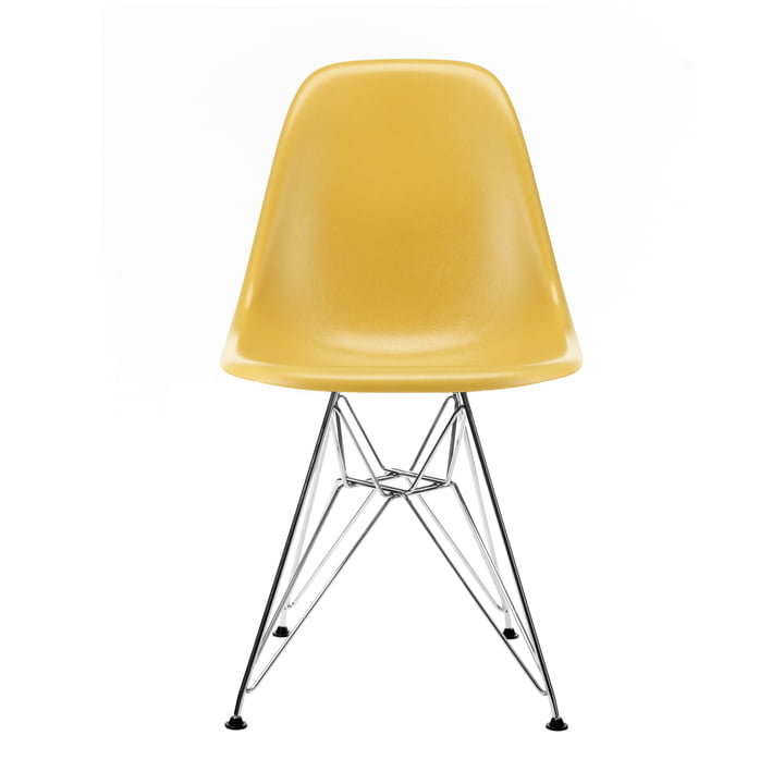 Eames Fiberglass Side Chair DSR from Vitra in chrome / Eames ochre light