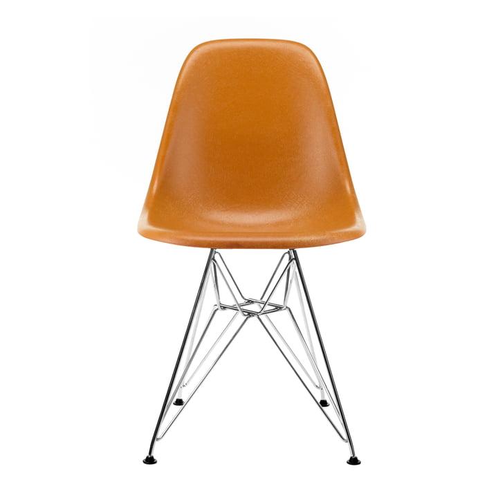 Eames Fiberglass Side Chair DSR from Vitra in chrome / Eames ochre dark