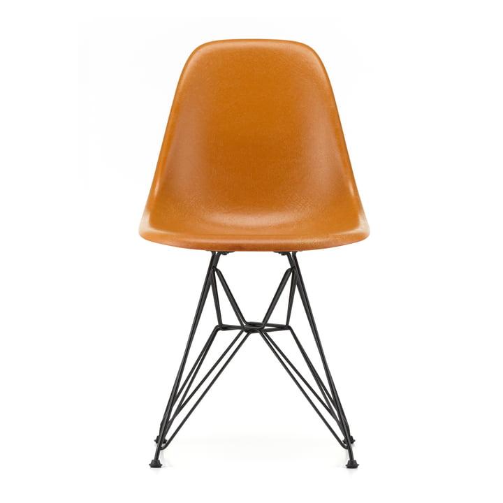 Eames Fiberglass Side Chair DSR from Vitra in basic dark / Eames ochre dark