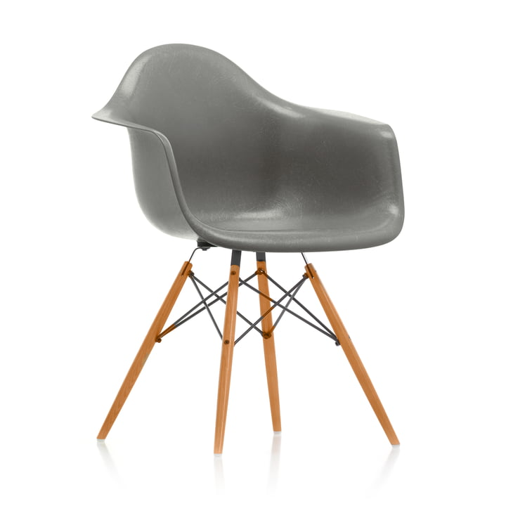 Eames Fiberglass Armchair DAW from Vitra in maple yellowish / Eames raw umber