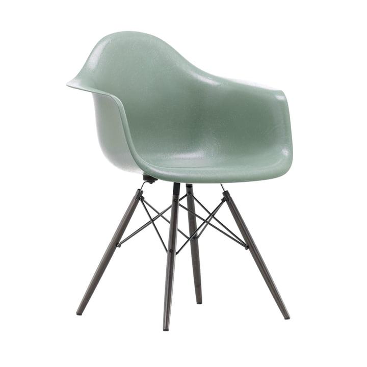 Eames Fiberglass Armchair DAW from Vitra in maple black / Eames sea foam green