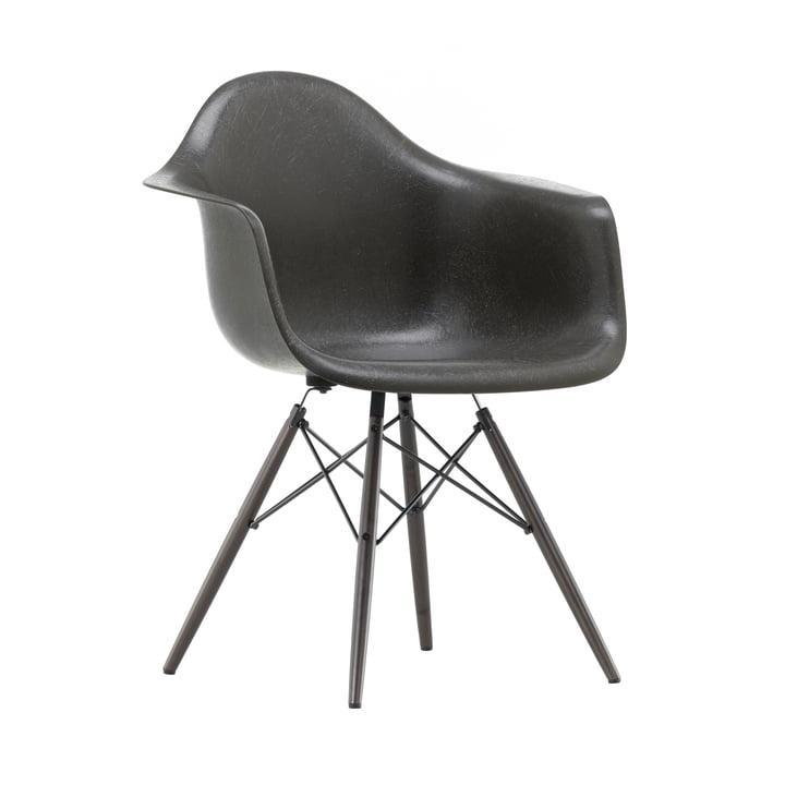 Eames Fiberglass Armchair DAW from Vitra in maple black / Eames elephant hide grey