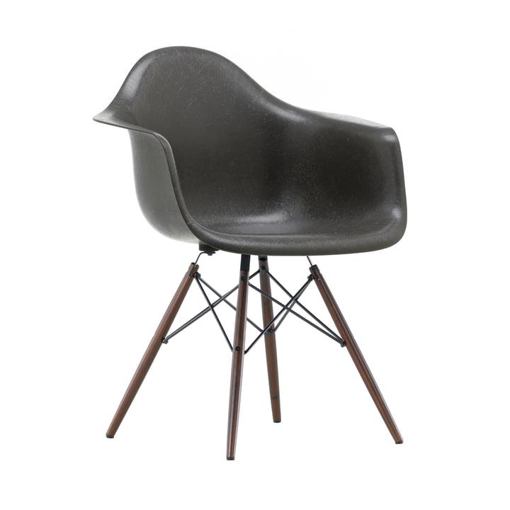 Eames Fiberglass Armchair DAW from Vitra in dark maple / Eames elephant hide grey