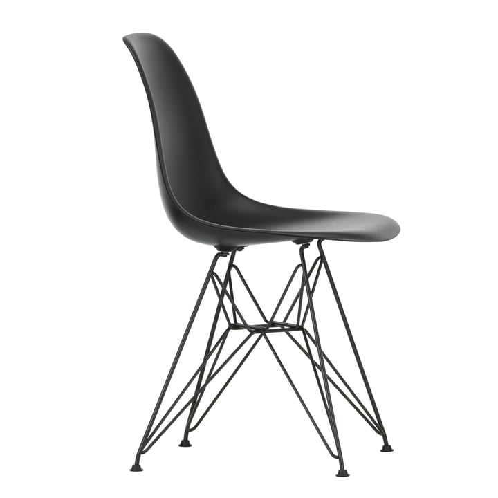 Eames Plastic Side Chair DSR by Vitra in basic dark / deep black
