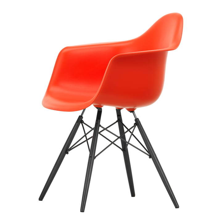 Eames Plastic Armchair DAW by Vitra in maple black / poppy red