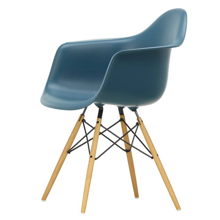 Eames Plastic Armchair DAW by Vitra in maple yellowish / sea blue