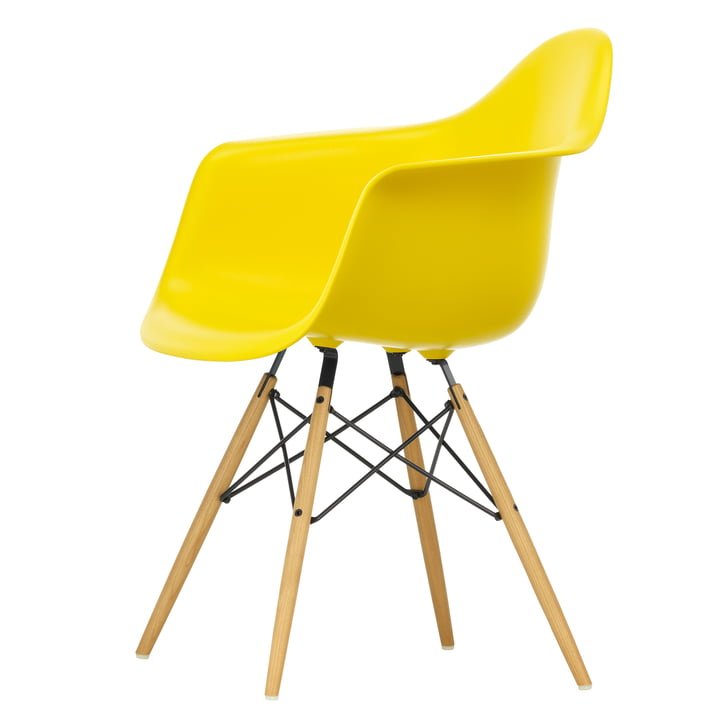 Eames Plastic Armchair DAW by Vitra in maple yellowish / sunlight
