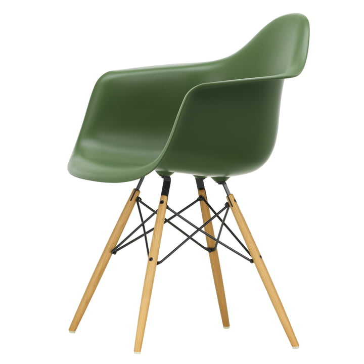 Eames Plastic Armchair DAW by Vitra in Maple yellowish / forest