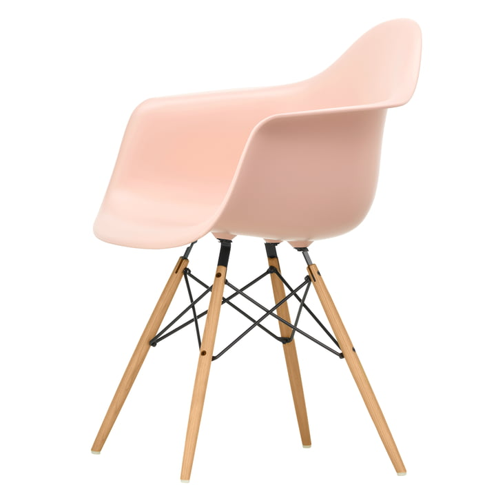 Eames Plastic Armchair DAW by Vitra in ash honey / soft pink