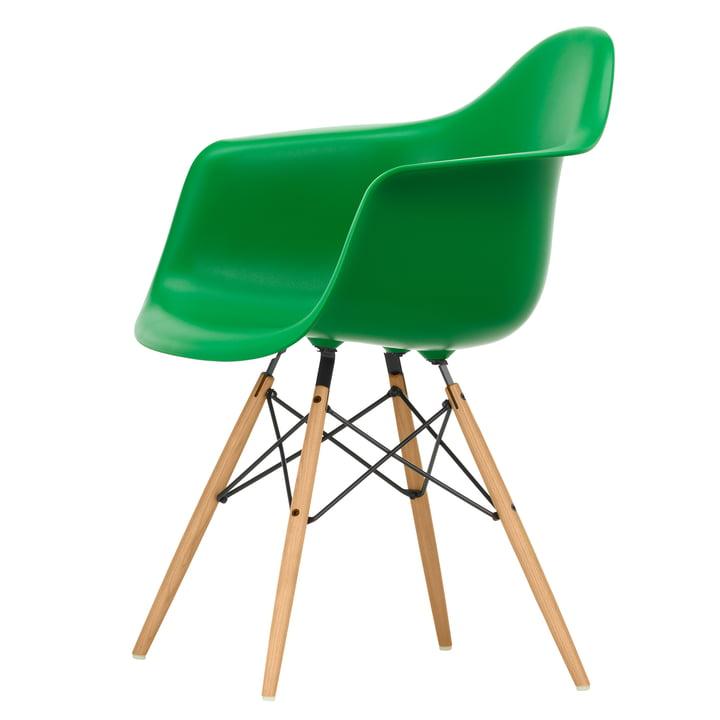 Eames Plastic Armchair DAW by Vitra in ash honey / green