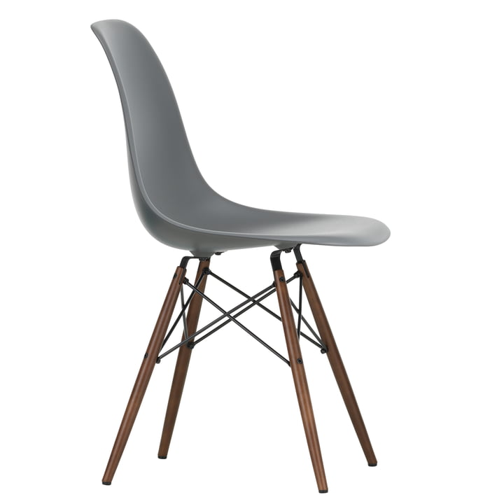 Eames Plastic Side Chair DSW by Vitra in maple dark / granite grey