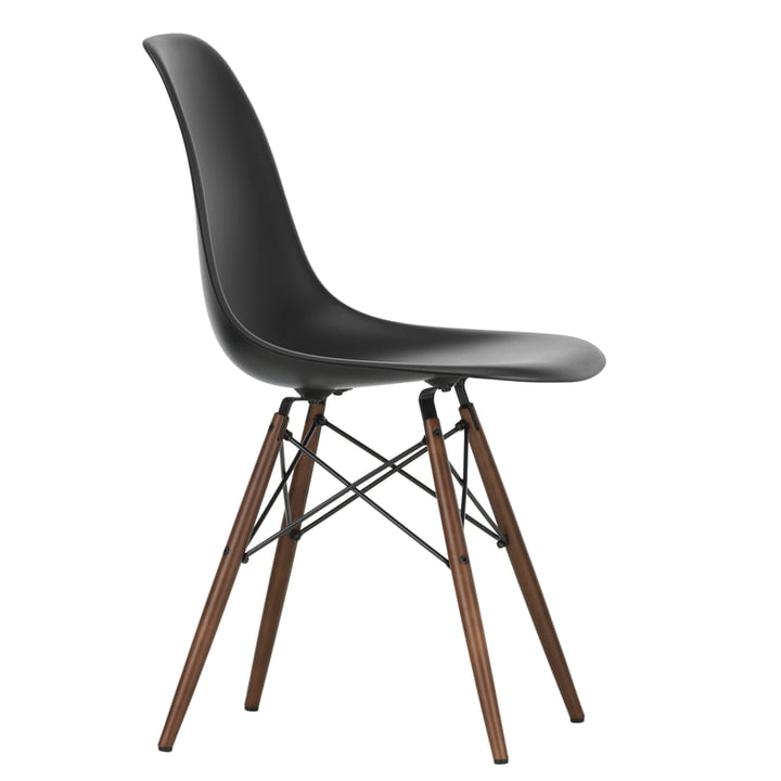 Eames Plastic Side Chair DSW by Vitra in maple dark / deep black