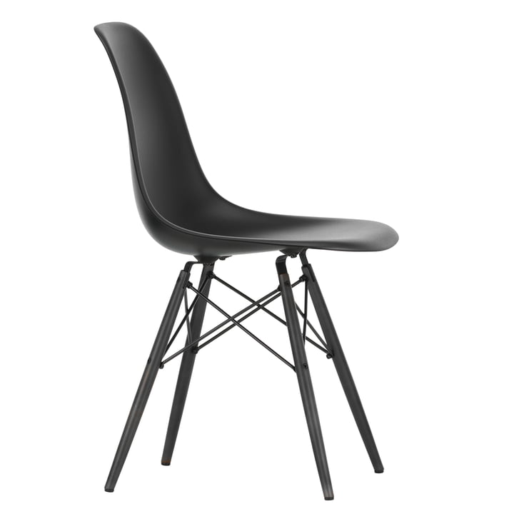 Eames Plastic Side Chair DSW by Vitra in maple black / deep black