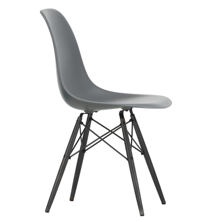 Eames Plastic Side Chair DSW by Vitra in maple black / granite grey