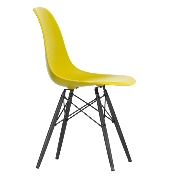 Eames Plastic Side Chair DSW by Vitra in maple black / mustard