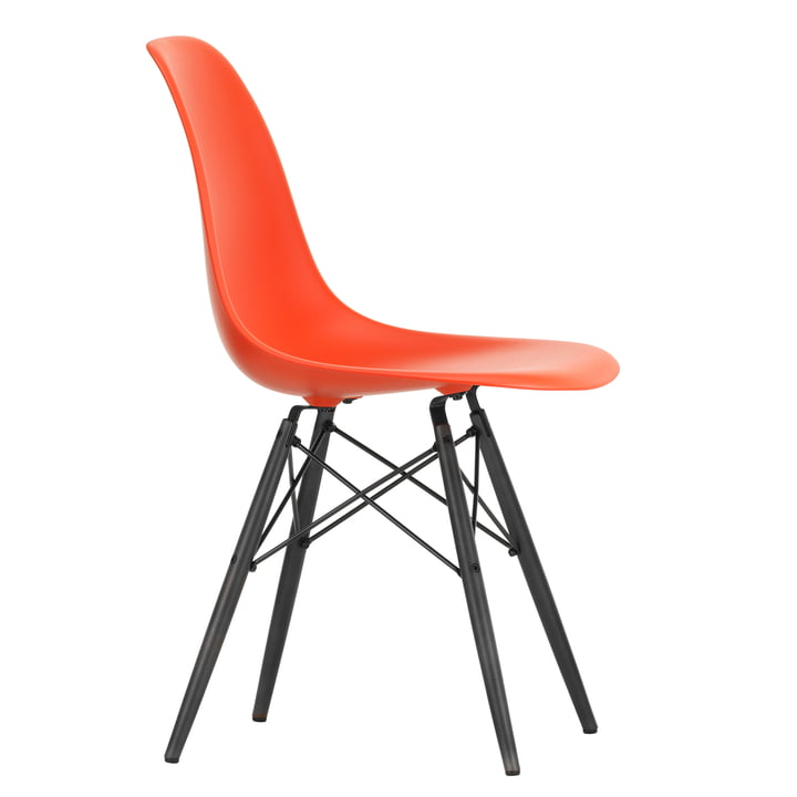 Eames Plastic Side Chair DSW by Vitra in maple black / poppy red