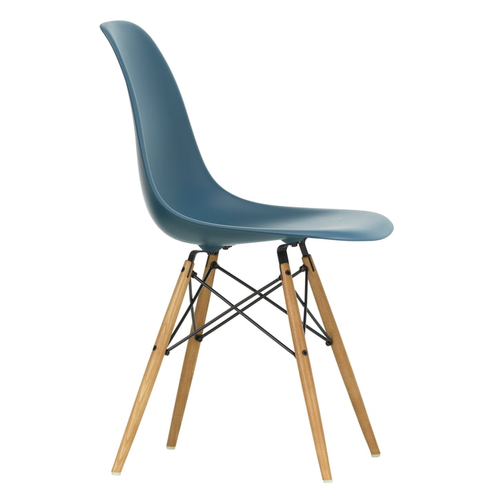 Eames Plastic Side Chair DSW by Vitra in maple yellowish / sea blue