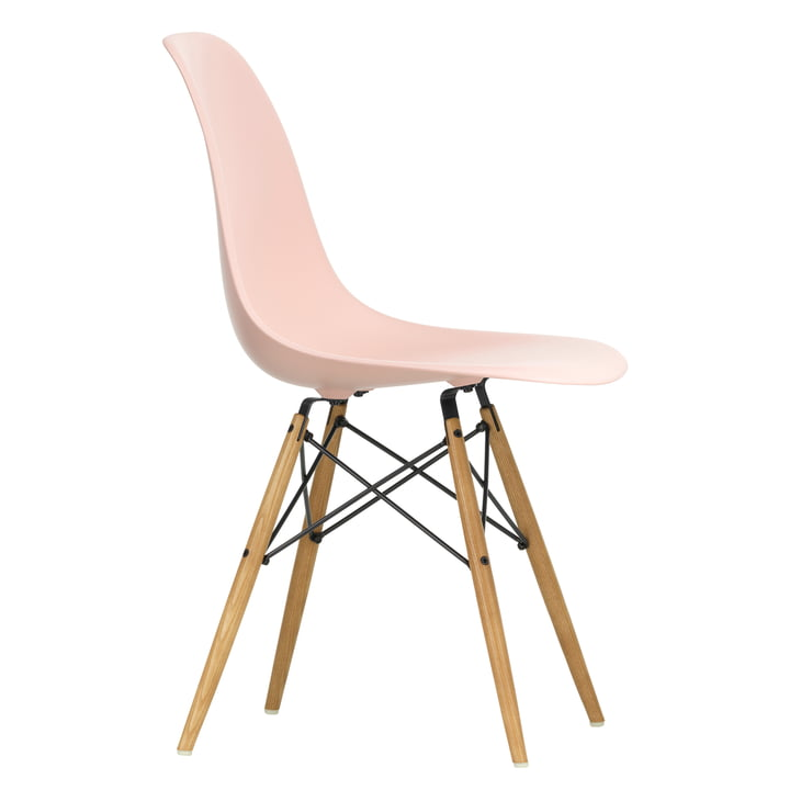 Eames Plastic Side Chair DSW by Vitra in maple yellowish / pale rosé