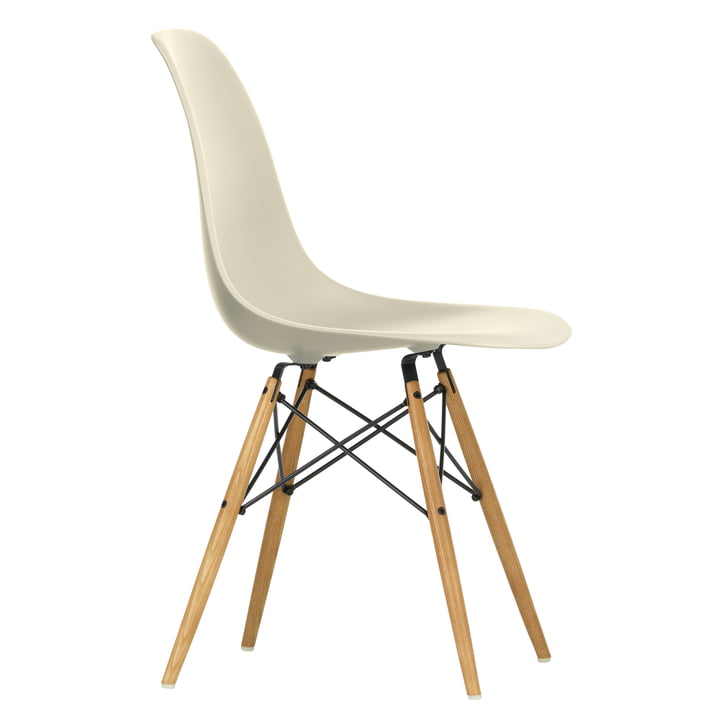 Eames Plastic Side Chair DSW by Vitra in maple yellowish / light grey