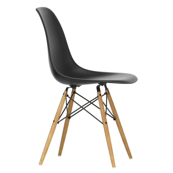 Eames Plastic Side Chair DSW by Vitra in maple yellowish / deep black