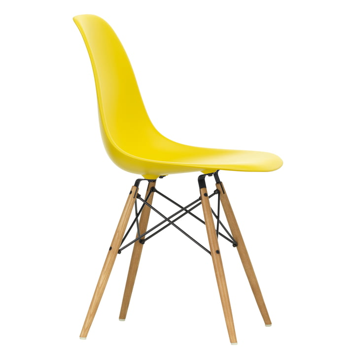 Eames Plastic Side Chair DSW by Vitra in maple yellowish / sunlight