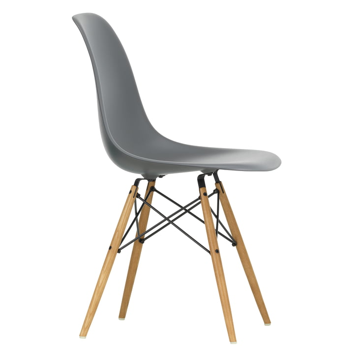 Eames Plastic Side Chair DSW by Vitra in maple yellowish / granite grey