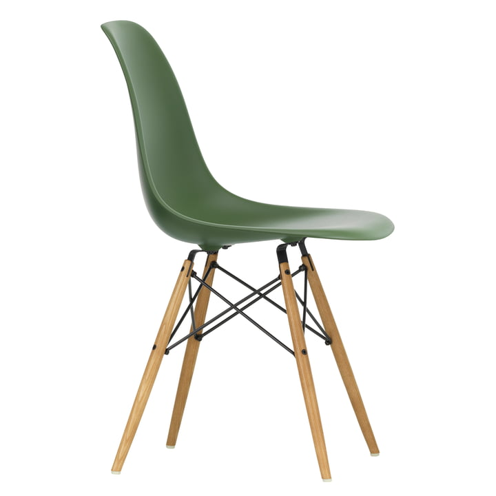 Eames Plastic Side Chair DSW by Vitra in maple yellowish / forest