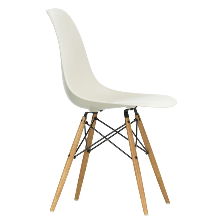 Eames Plastic Side Chair DSW by Vitra in maple yellowish / pebble stone
