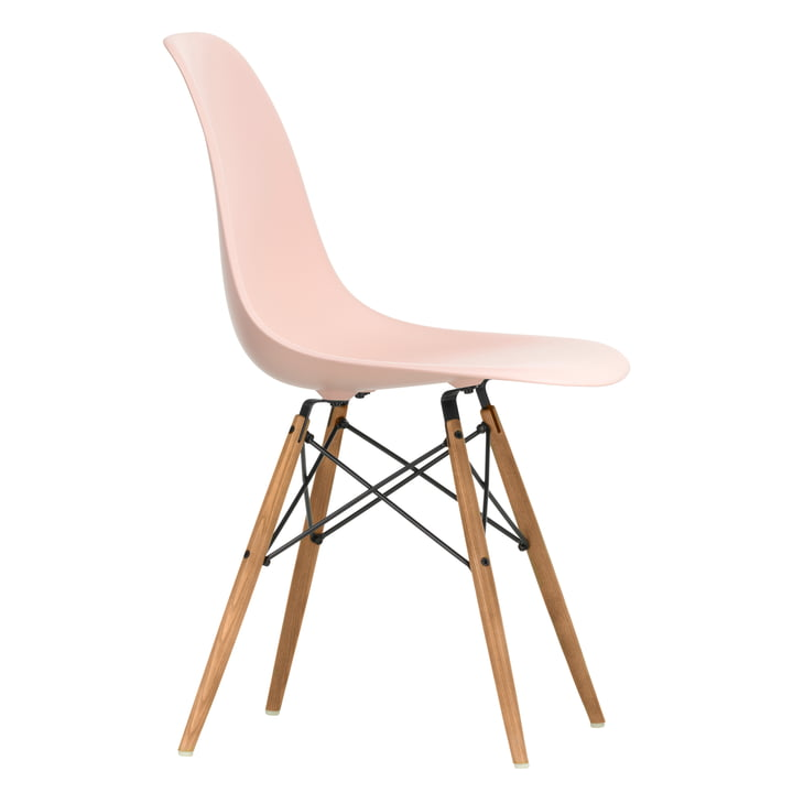 Eames Plastic Side Chair DSW by Vitra in ash honey coloured / soft pink