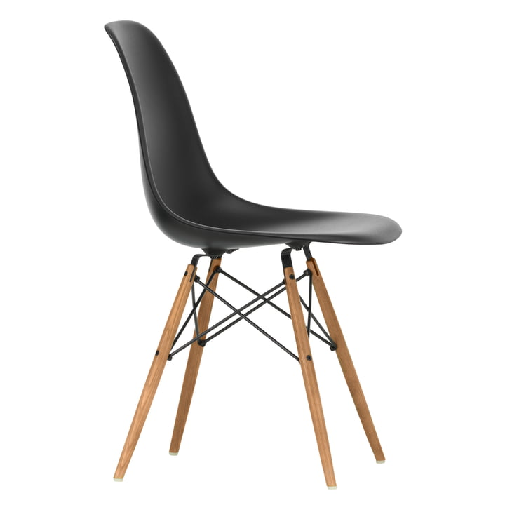 Eames Plastic Side Chair DSW by Vitra in ash honey / deep black