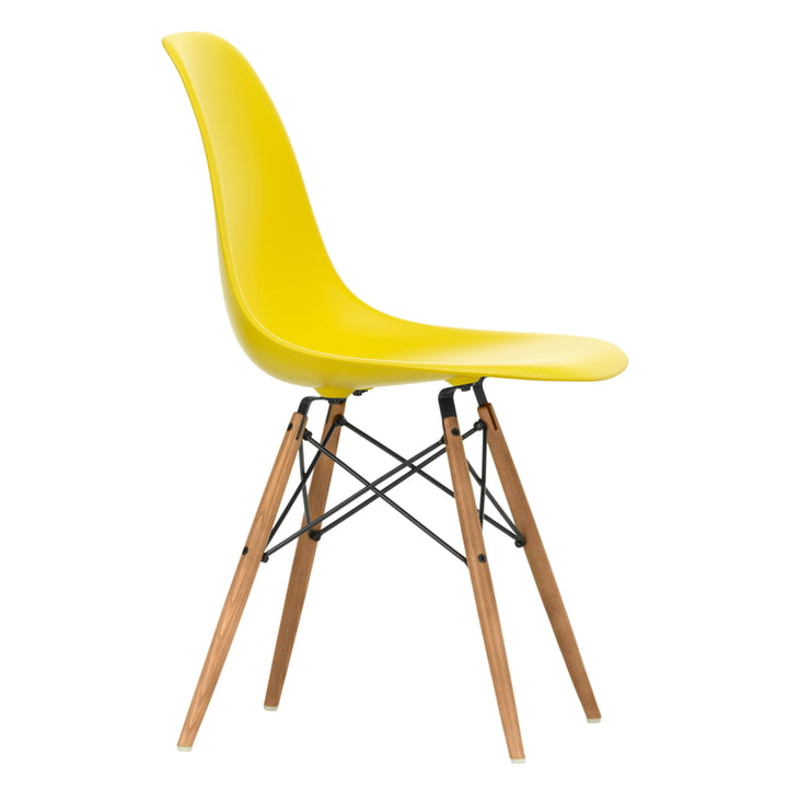 Eames Plastic Side Chair DSW by Vitra in ash honey coloured / sunlight