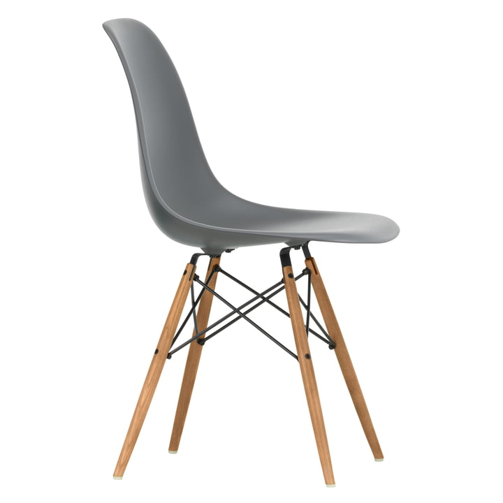 Eames Plastic Side Chair DSW by Vitra in ash honey / granite grey