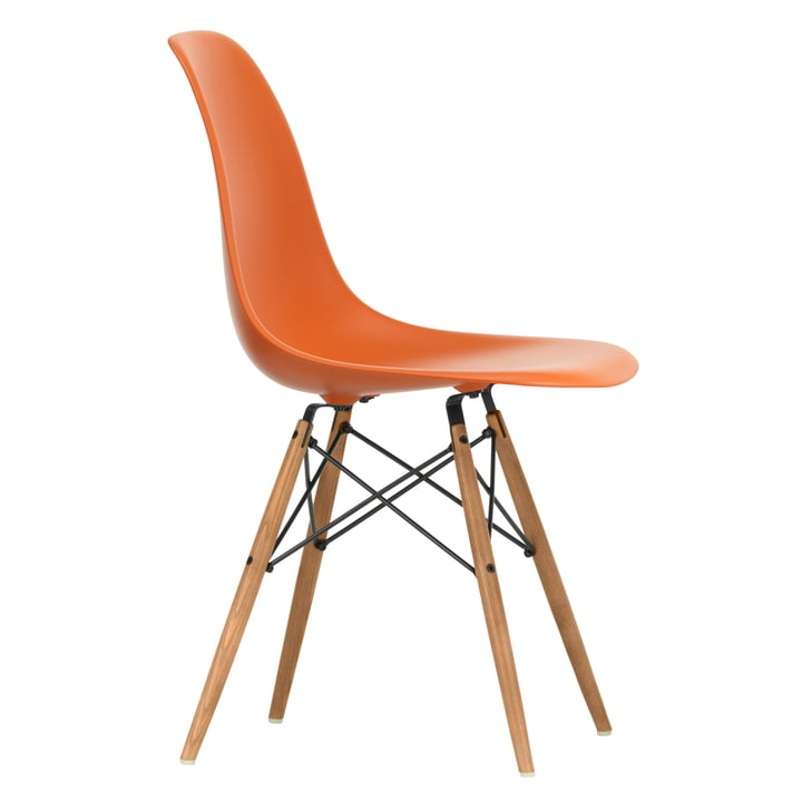 Eames Plastic Side Chair DSW by Vitra in ash honey / rust orange