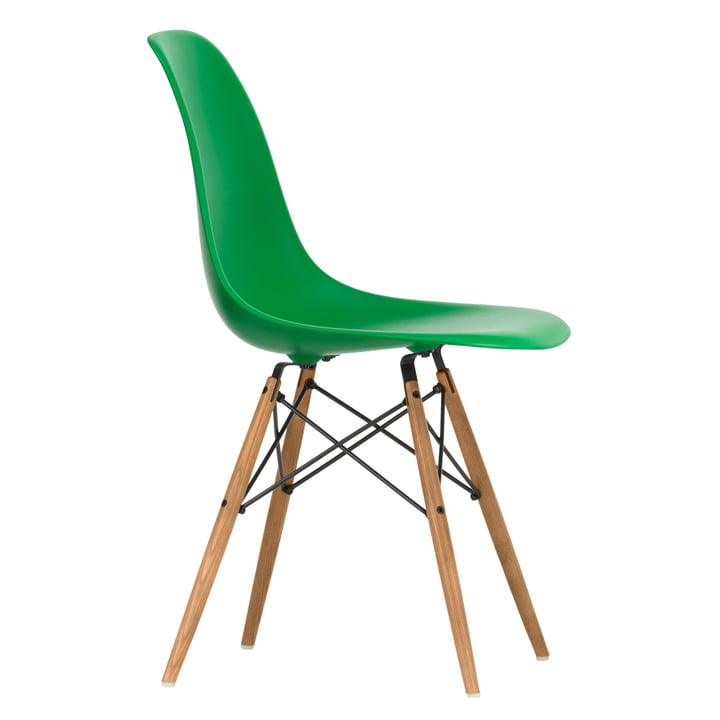 Eames Plastic Side Chair DSW by Vitra in ash honey / green