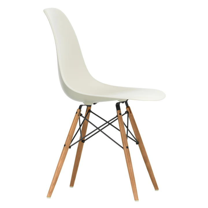 Eames Plastic Side Chair DSW by Vitra in ash honey coloured / pebble stone