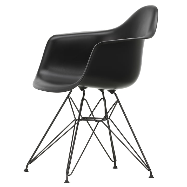 Eames Plastic Armchair DAR by Vitra in basic dark / deep black