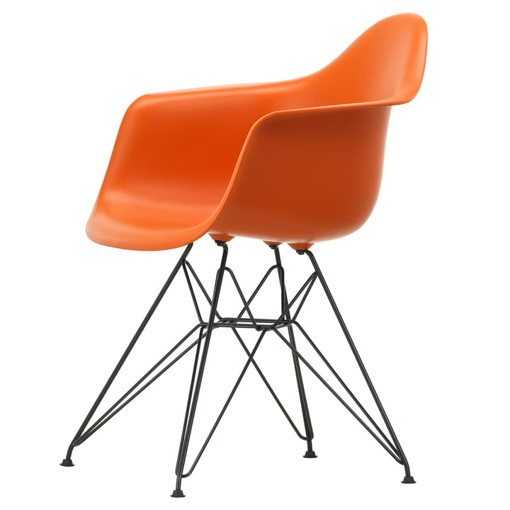 Eames Plastic Armchair DAR from Vitra in basic dark / rusty orange