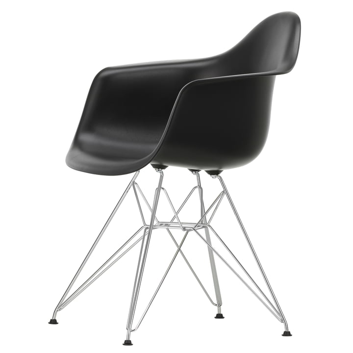 Eames Plastic Armchair DAR by Vitra in chrome plated / deep black