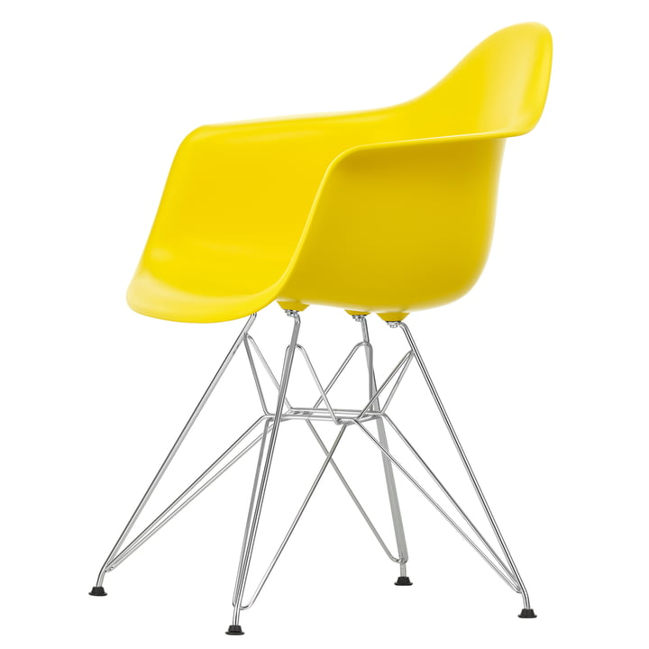 Eames Plastic Armchair DAR by Vitra in chrome-plated / sunlight