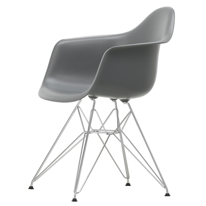 Eames Plastic Armchair DAR by Vitra in chrome / granite grey