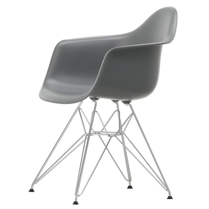 Eames Plastic Armchair DAR by Vitra in chromed / granite grey