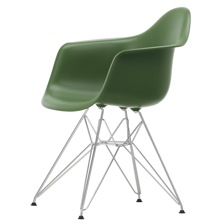 Eames Plastic Armchair DAR by Vitra in chrome / forest