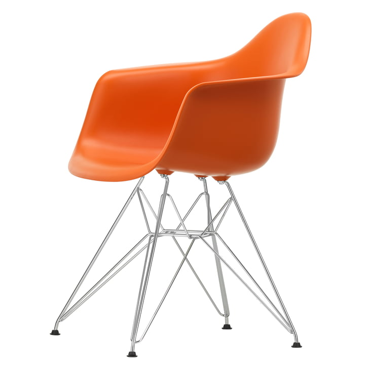 Eames Plastic Armchair DAR by Vitra in chrome-plated / rust orange